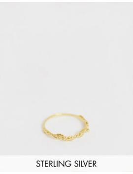 Asos Design   Echt Zilveren Ring Verguld Met Goud In Een Delicaat Bloem Ontwerp by Asos Design
