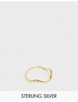 Asos Design   Echt Zilveren Ring Verguld Met Goud Met Wiggle Ontwerp by Asos Design