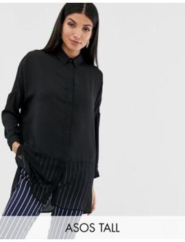 Asos Design Tall   Zacht Overhemd Met Lange Mouwen Met Doorzichtige En Effen Vlakken by Asos Design