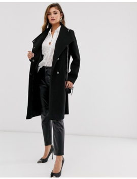Asos Design Smart Coat With Wrap Front Detail In Black by Asos Design