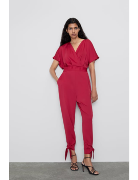 Satin Effect Wrap Jumpsuit  New Inwoman by Zara