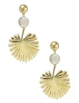 Gold Palm Leaf Freshwater Pearl Drop Earrings by Ettika