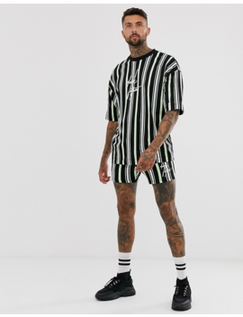 Asos Design Two Piece Oversized Striped T Shirt With Dark Future Logo by Asos Design