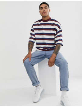 Asos Design Oversized Striped T Shirt With Turtleneck by Asos Design