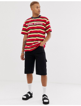 Karl Kani Retro Stripe T Shirt With Embroidered Logo In Red by T Shirt