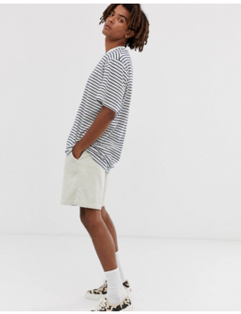 Brooklyn Supply Co Drop Shoulder Oversized T Shirt With Stripes In Ecru by Brooklyn Supply Co
