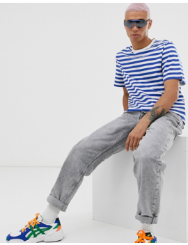 Weekday Stripe T Shirt In White/Blue by Weekday