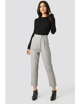 Paper Waist Straight Trousers Gris by Na Kd