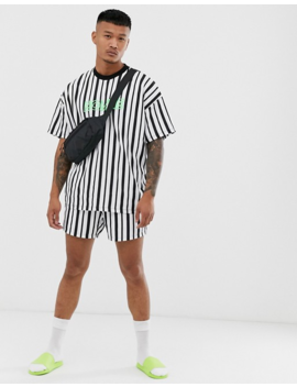 Asos Design Two Piece Oversized Longline Striped T Shirt With Homme Neon Embroidery by Asos Design