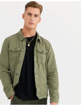 Pull&Amp;Bear Denim Jacket In Khaki by Pull&Bear