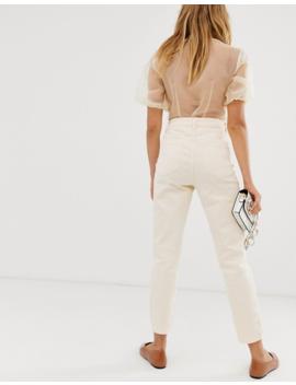 Asos Design – Farleigh – Citrongula Slim Mom Jeans Med Hög Midja by Asos Design