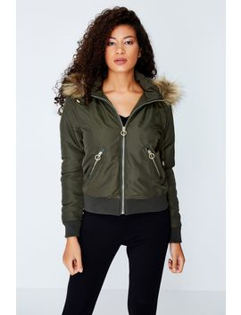Khaki Faux Fur Lined Bomber Jacket by Select