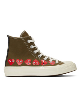 Khaki Converse Edition Multiple Hearts Chuck 70 High Sneakers by Comme Des GarÇons Play