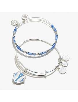 Godspeed Color Infusion Bracelet Set Of 2 Shiny Silver by Alex And Ani
