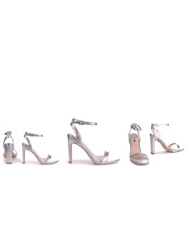 Bobbi Silver Metallic Slim Heeled Sandal With Square Toe by Linzi
