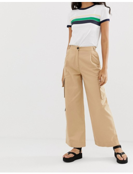Monki Wide Leg Utility Pants With Oversized Pockets In Beige by Monki