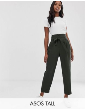 Asos Design Tall Tailored Tie Waist Tapered Ankle Grazer Trousers by Asos Design