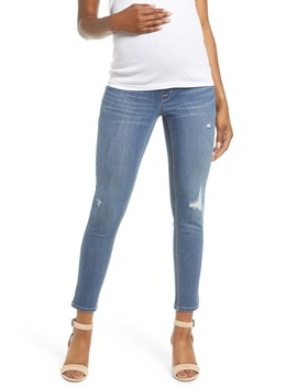 Distressed Ankle Maternity Skinny Jeans by 1822 Denim