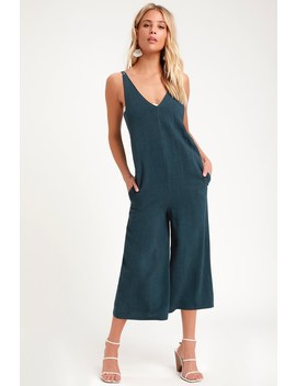 Rest And Relaxation Washed Navy Blue Culotte Jumpsuit by Lulus