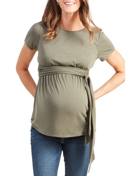 Short Sleeve Tie Waist Maternity/Nursing Top by Ingrid & Isabel®