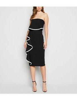 Black Ruffle Bardot Bodycon Dress by New Look