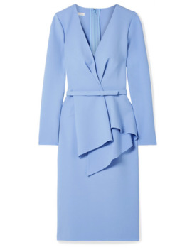 Draped Stretch Wool Blend Dress by Oscar De La Renta