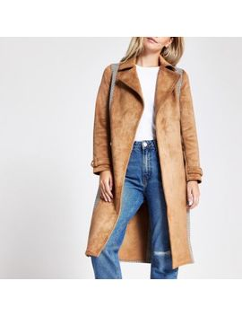Petite Brown Check Belted Trench Coat by River Island
