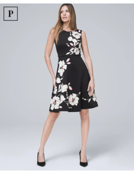 Petite Floral Scuba Knit Fit And Flare Dress by Whbm
