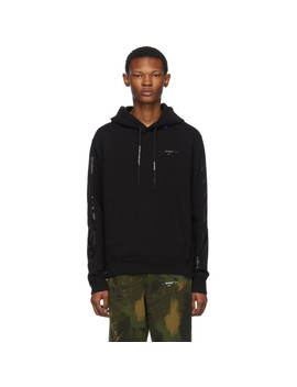 Black & Silver Diag Unfinished Slim Hoodie by Off White