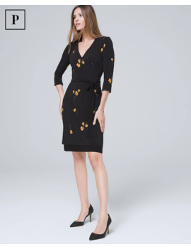 Petite Reversible Floral/Solid Faux Wrap Dress by Whbm