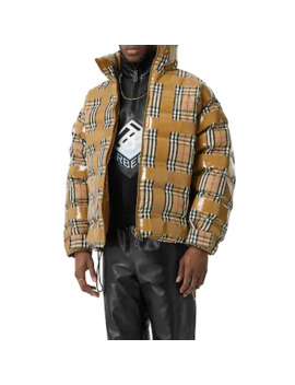 Check Print Nylon Down Jacket W/ Tape by Burberry