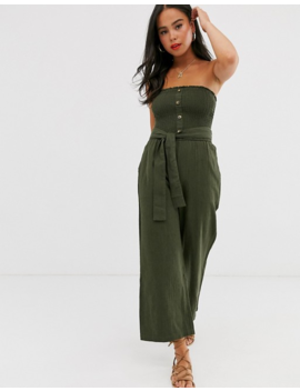 Abercrombie & Fitch Bandeau Wide Leg Jumpsuit With Belt Detail by Abercrombie & Fitch