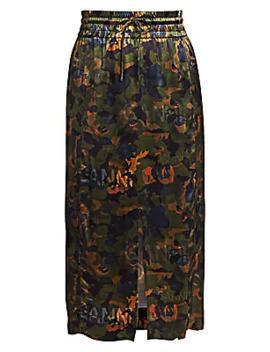 Floral Print Satin Midi Skirt by Ganni
