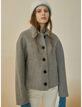 Maison Marais Wave Collar Harf Coat   Gray by Garmentory