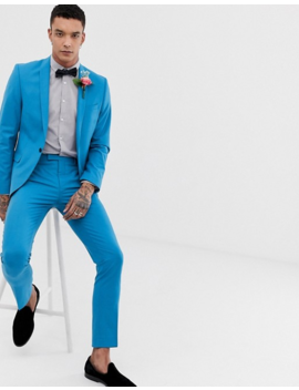 Twisted Tailor Super Skinny Suit Pants In Bright Blue by Twisted Tailor
