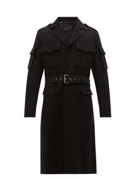 Belted Wool Military Coat by Prada