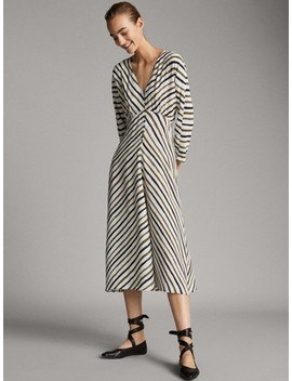 Striped Dress With Buttons by Massimo Dutti