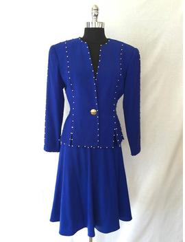 1980s Bill Blass Royal Blue Jacket And Skirt Set by Etsy