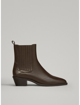 Flat Brown Ankle Boots by Massimo Dutti