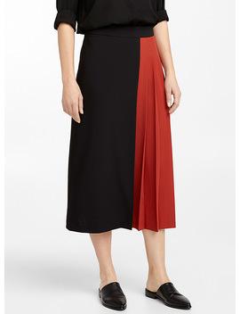 Kilt Style Career Midi Skirt by Contemporaine