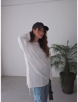 Ruched Drawstring Side T Shirt by Stylenanda