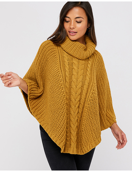 Chunky Cable Knit Roll Neck Poncho by Accessorize