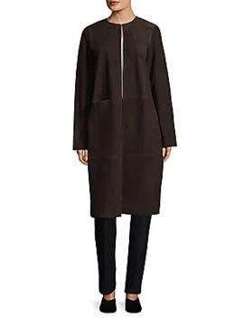 Shea Jewelneck Suede Coat by Lafayette 148 New York
