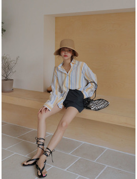 Multicolored Stripe Loose Fit Shirt by Stylenanda