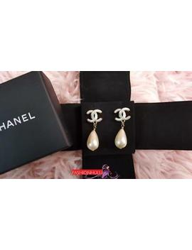 2017 Chanel Faux Pearl Cc Drop Earrings by Chanel