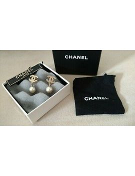 Authentic Chanel Earrings C's Goldtone Pearl Dangle With Box And Dust Bag Rare by Chanel