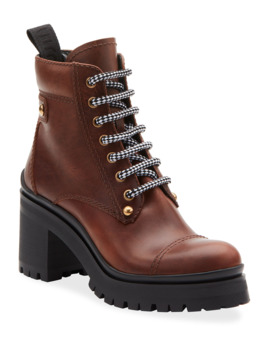 Lace Up Leather Lug Sole Hiker Boots by Miu Miu