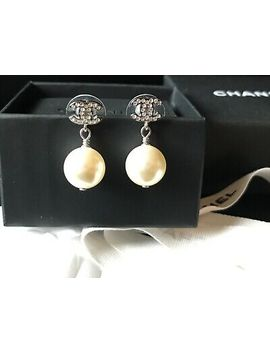 100%Auth Chanel Classic Crystal Silver Cc And White Pearl Dangling Earrings by Chanel