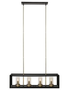 Verona 4 Light Dark Bronze Chandelier With Clear Glass Shades by Globe Electric