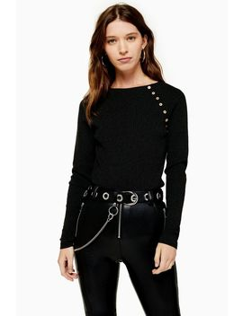 Dark Grey Knitted Crew Neck Top by Topshop